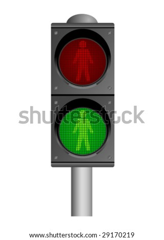 Detailed illustration of traffic lights, isolated on white background - stock vector