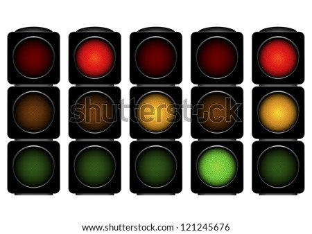 detailed illustration of traffic lights with different activated lights - stock vector