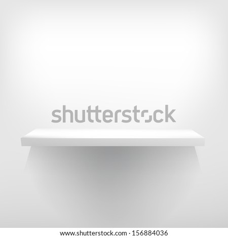 Detailed illustration of white shelve with light from the top. + EPS10 vector file