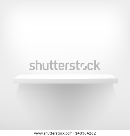 Detailed illustration of white shelves with light from the top. EPS 10 - stock vector