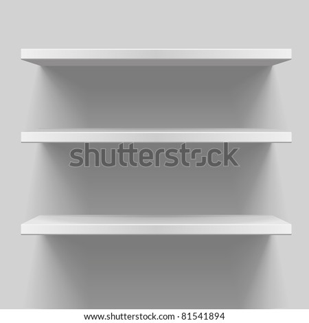 detailed illustration of white shelves with light from the top, eps8 vector - stock vector