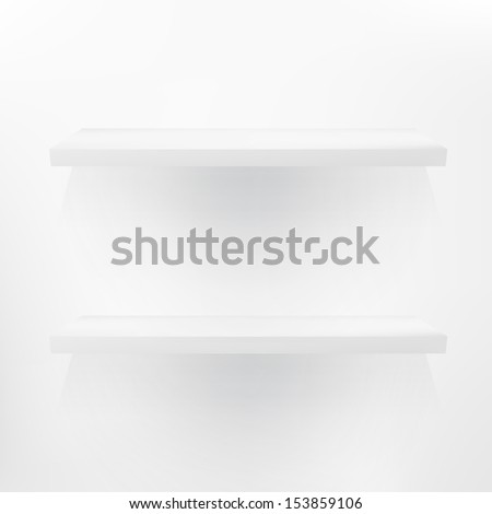 Detailed illustration of white shelves with light from the top. + EPS10 vector file - stock vector
