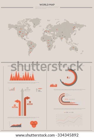 Detailed infographic collection vector illustration. World Map and Information Graphics  - stock vector
