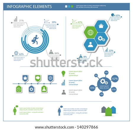 detailed infographic elements set with  graphics and charts eps10 - stock vector