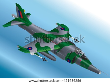 Detailed Isometric Vector Illustration of a Royal Air Force Harrier Jet Fighter - stock vector