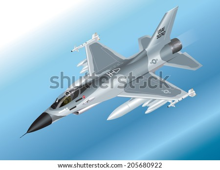 Detailed Isometric Vector Illustration of an F-16 Fighter Jet Airborne - stock vector