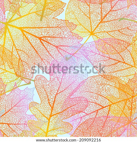 Detailed leaves seamless background. EPS 10 vector file included - stock vector