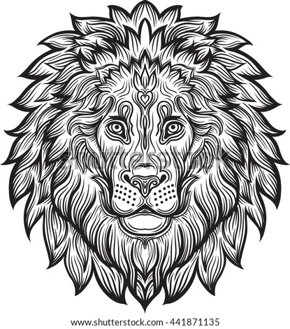 Detailed Lion Aztec Filigree Line Art Stock Vector