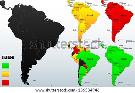 Detailed location map of South America, very easy, fully editable, with instruction details in separate layer, vector - stock vector