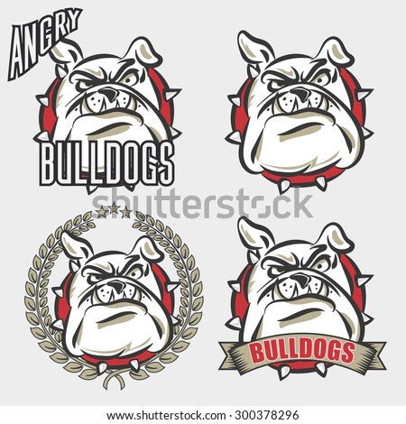 Detailed logo set of bulldog head with angry face emotion for college, school sport team logo concept, apparel design. Vector Illustration. - stock vector