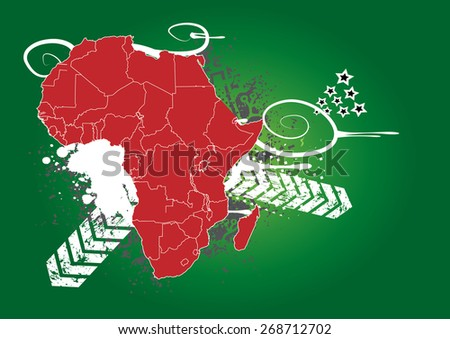 Detailed Map of Africa with Background (2 in 1) - stock vector