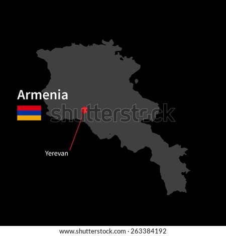 Detailed map of Armenia and capital city Yerevan with flag on black background - stock vector