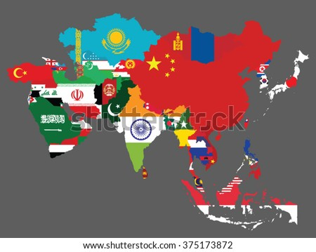 Detailed map of Asia with all the countries flags inside their borders/Asian countries - stock vector