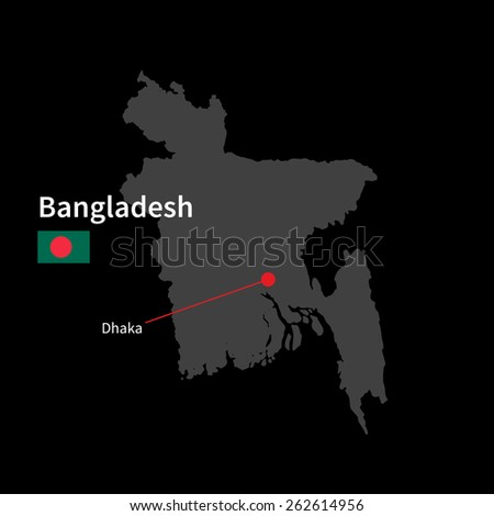 Detailed map of Bangladesh and capital city Dhaka with flag on black background - stock vector