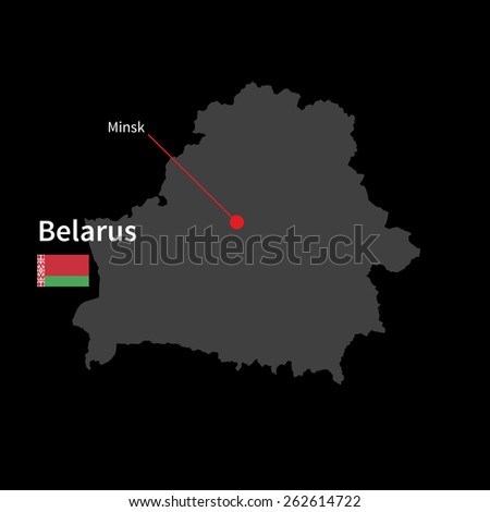 Detailed map of Belarus and capital city Minsk with flag on black background - stock vector