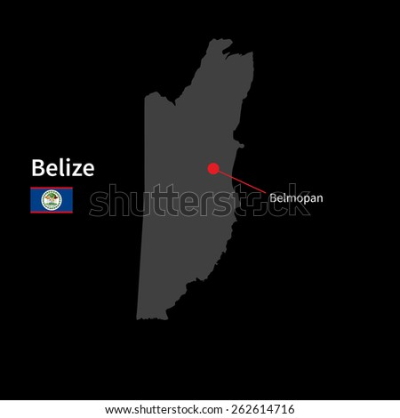 Detailed map of Belize and capital city Belmopan with flag on black background - stock vector