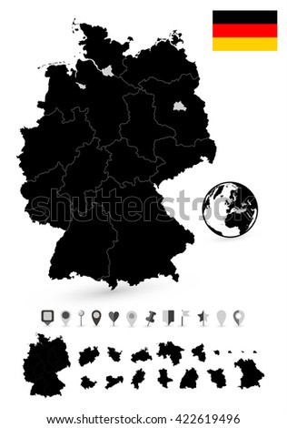 Detailed map of Brazil and flat navigation set. Black colors. - stock vector