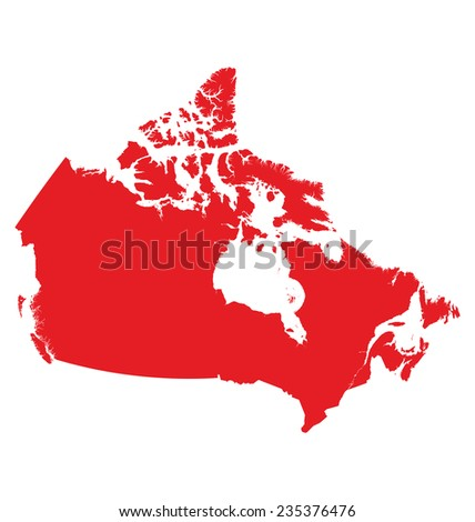 Detailed map of Canada isolated on white background - stock vector
