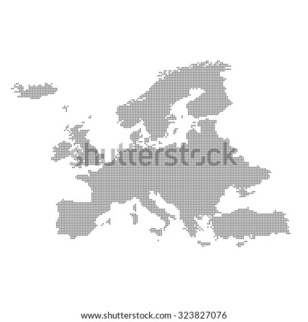 Detailed map of Europe in the dot. Vector illustration. - stock vector