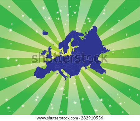 Detailed map of Europe with Captivating Background - stock vector