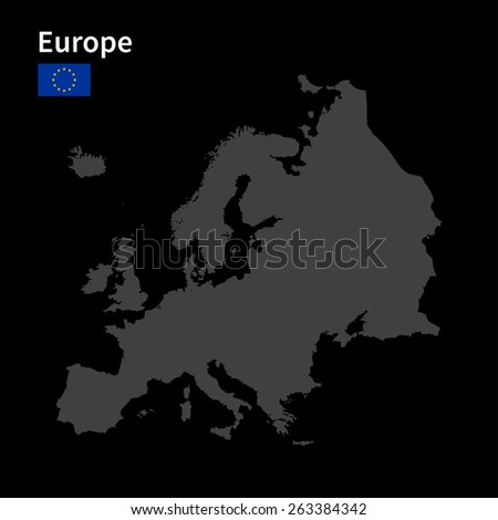 Detailed map of Europe with flag on black background - stock vector