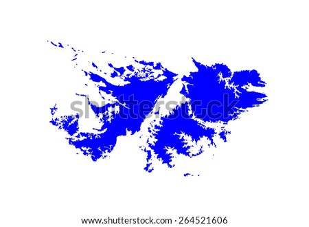 Detailed map of Falkland Islands, vector map isolated on white background. High detailed silhouette illustration. - stock vector