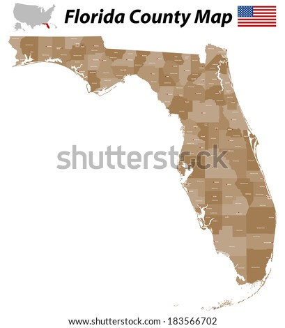 Detailed map of Florida with all counties and main cities. - stock vector