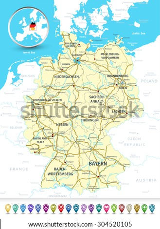Detailed Map Of Germany With Highways, Railroads,water Objects And 3D  Bubble GPS Markers