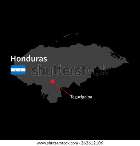Detailed map of Honduras and capital city Tegucigalpa with flag on black background - stock vector