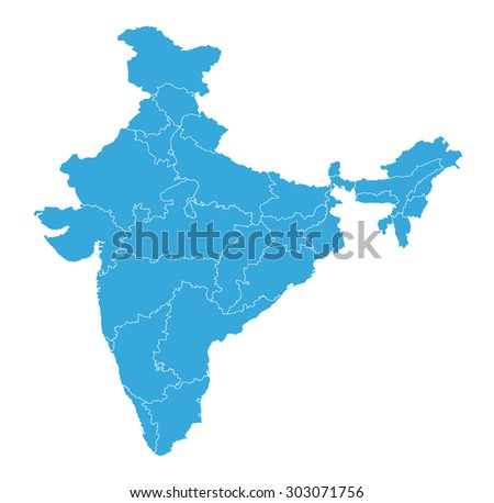 Detailed map of India  - stock vector