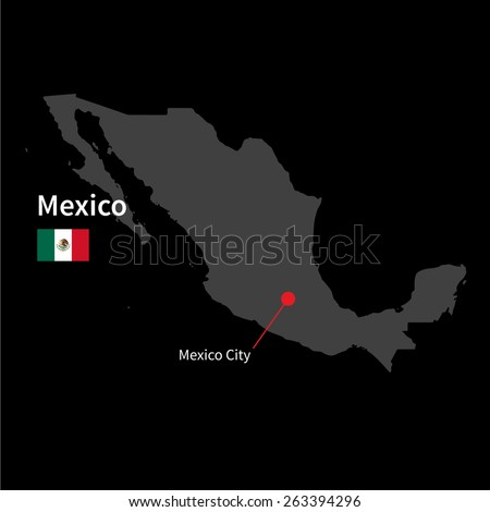 Detailed map of Mexico and capital city Mexico with flag on black background - stock vector