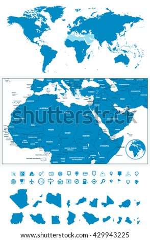 Detailed map northern africa middle east stock photo photo vector detailed map of northern africa and the middle east with world map navigation set gumiabroncs Gallery