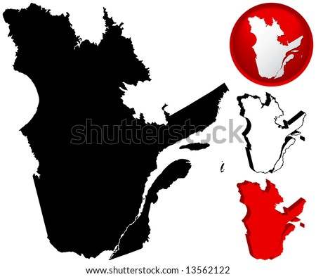 Detailed Map of Quebec, Canada with several variations - stock vector
