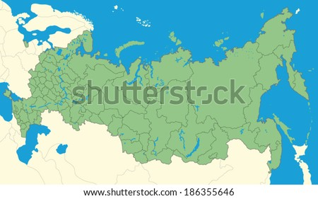 Detailed map of Russia - stock vector