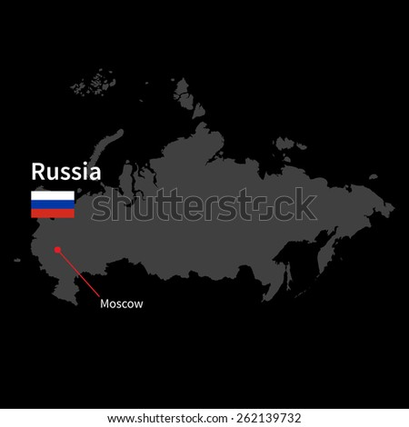 Detailed map of Russia and capital city Moscow with flag on black background - stock vector