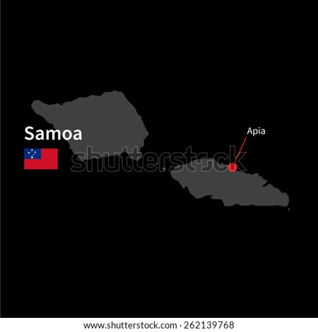 Detailed Map Samoa Capital City Apia Stock Vector 262139768
