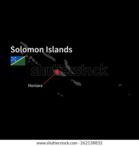 Detailed map of Solomon Islands and capital city Honiara with flag on black background - stock vector