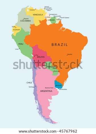 Detailed map of South America - stock vector