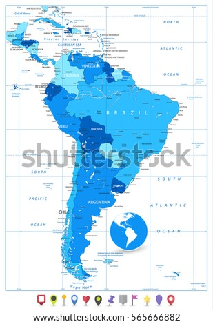 South America Road Map Stock Vector Shutterstock - South america road map