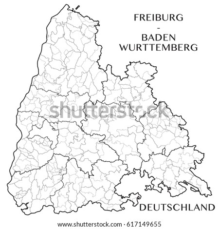 Detailed Map District Freiburg Baden Wurttemberg Germany Stock