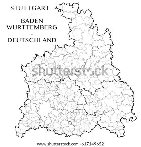 Detailed Map District Stuttgart Badenwurttemberg Germany Stock Photo