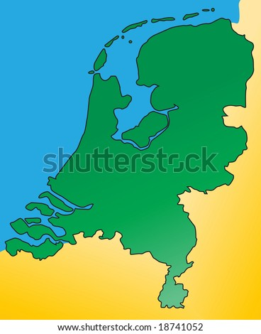 Detailed map of the Netherlands / Holland, Europe. Vector. - stock vector