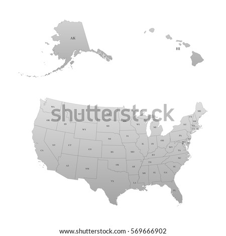 Abbreviations Stock Images RoyaltyFree Images Vectors - Map of the postal abreviations for the us