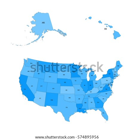Detailed Map United States Including Alaska Stock Vector - United states map hawaii