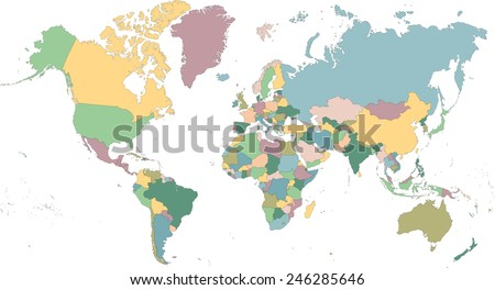 Detailed map of the world divided into countries - stock vector
