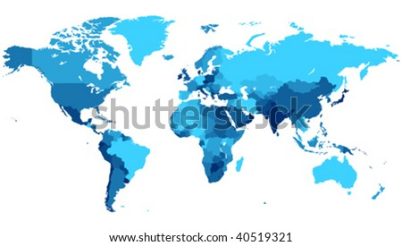 Detailed map of the World with countries in blue colors. Vector illustration. - stock vector