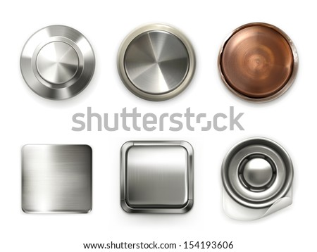 Detailed metal buttons, set - stock vector