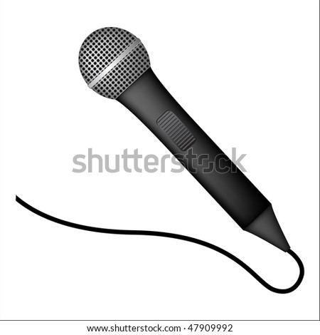 detailed microphone on white background
