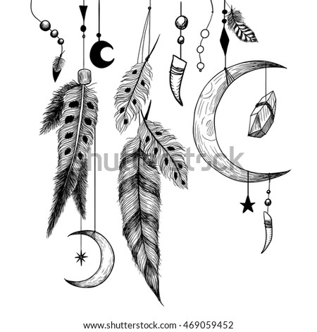 Detailed mystical illustration with feathers, beads, moon, stars, crystals and claws.