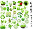 Detailed nature icons collection, eco and bio message - stock vector